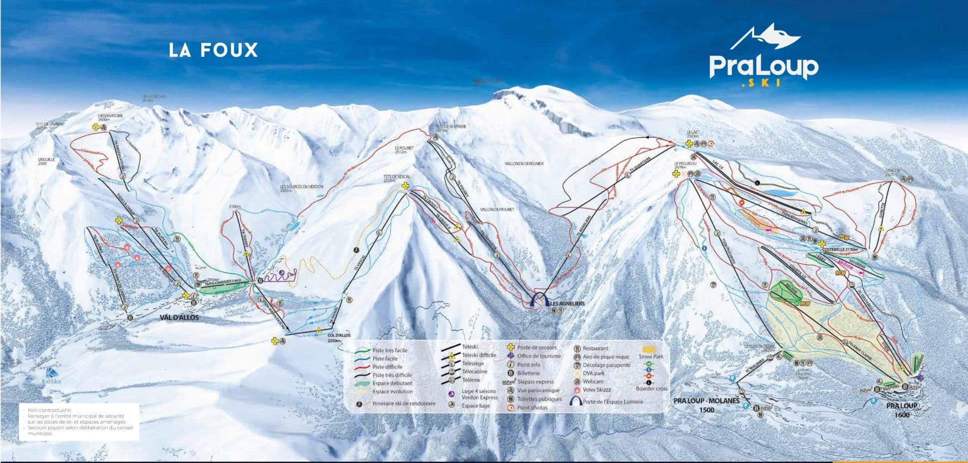 plan des pistes ESPACE LUMIERE 2019 2020